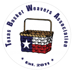 Texas Basket Weavers Association logo of Texas flag on a basket with words in a circle around the basket.