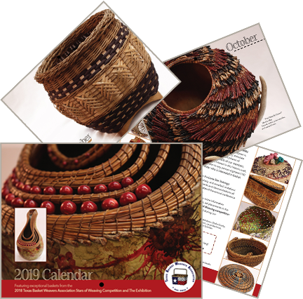 Image of a few pages from the 2019 TBWA Calendar produced by the Texas Basket Weavers Association